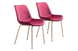 Red Velvet Bucket Seat Dining Chair Set Of 2