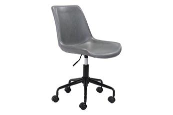 Grey Vegan Leather Bucket Seat Desk Chair