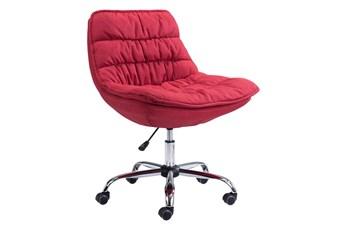 Red Plush Velvet Desk Chair