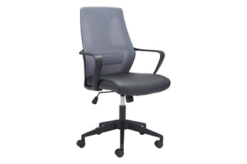 Black And Grey Mesh Back Vegan Leather Desk Chair