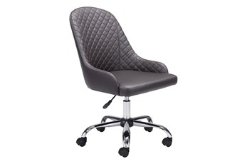 Brown Quilted Back Curved Desk Chair