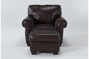 Bacchus Leather Accent Chair And Storage Ottoman
