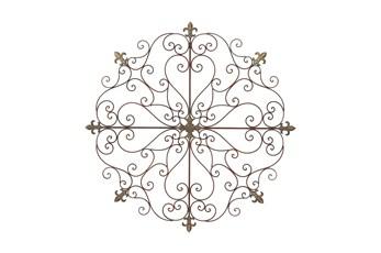 Round Brown Metal Medallion Wall Decor