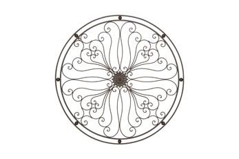 Round Dark Grey Metal Medallion Wall Decor
