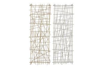 Gold And Silver Crosshatched Abstract Metal Wall Panel-Set Of 2