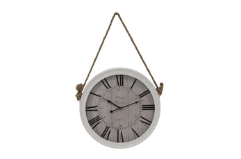 21 Inch Hanging Rope White Metal Wall Clock