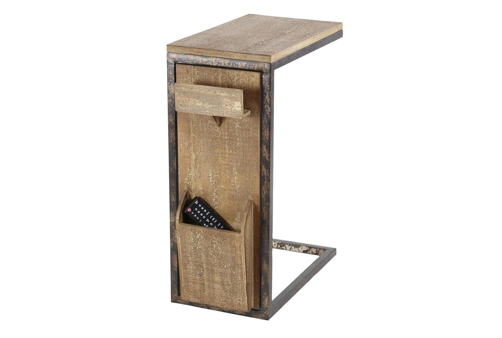 Metal And Wood C-Table With Storage