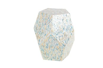 16 Inch Shell Pentagon Faceted Multi-Color Drum Accent Table
