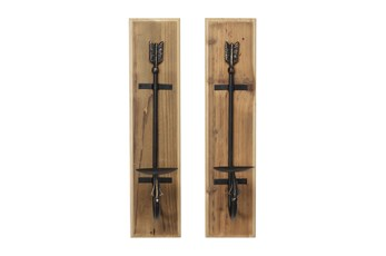 Wood And Iron Candle Wall Sconces-Set Of 2