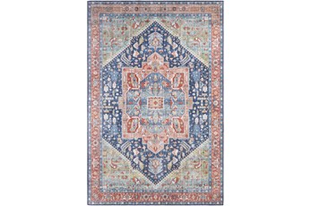 108X144 Rug-Fiona Medallion Blue/Peach/Green
