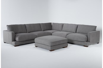 "Lindsey 3 Piece 129"" Sectional With Ottoman"