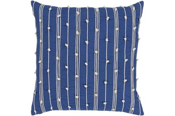 Accent Pillow - Blue + White Embroidered Knot Stripe 18X18