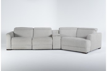"Chanel Grey 4 Piece Sectional With Right Arm Facing Cuddle Chaise and 141"" Console"