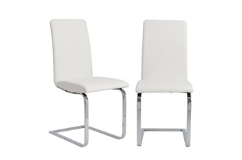 White Vegan Leather And Stainless Steel Cantilever Side Chair-Set Of 2