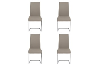 Taupe Vegan Leather And Chrome Cantilever Side Chair-Set Of 4