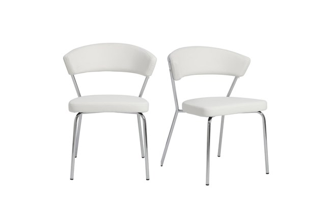 White Vegan Leather And Chrome Curved Back Dining Chair-Set Of 2 - 360