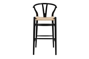 "Black Wishbone 30"" Barstool With Natural Seat"