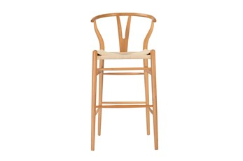 "Natural Wishbone 30"" Barstool With Natural Seat"