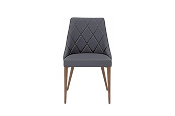 Grey Diamond Quilted Vegan Leather Side Chair-Set Of 2