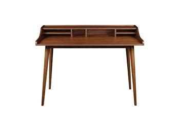 La Palma Walnut 47 Inch Desk With Storage Shelf