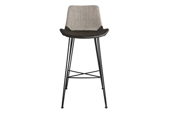 """Mixed Material 30"""" Barstool In  Light Grey"""