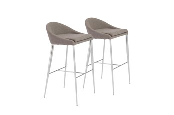 """Grey And Chrome Curved Low Back 30"""" Barstool-Set Of 2"""