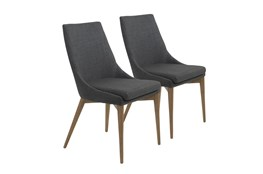 Charcoal Upholstered Side Chair With Walnut Legs-Set Of 2