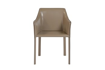 Straight Back Taupe High Gloss Leather-Like Upholstered Arm Chair