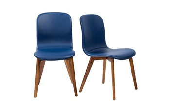 Blue Vegan Leather And Walnut Side Chair With Contrast Stitching-Set Of 2