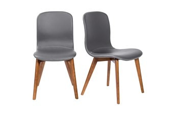 Grey Vegan Leather And Walnut Side Chair With Contrast Stitching-Set Of 2