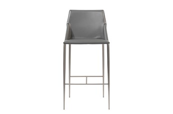 """Origami Dark Grey Leather-Like Upholstered 30"""" Barstool With Stainless Steel Legs"""