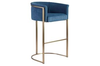 """Blue And Brass Barrel Back Upholstered 30"""" Barstool"""