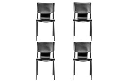 Cut Out Black Leather-Like Uphosltered Side Chair-Set Of 4