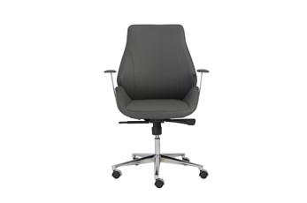 Viborg Grey Vegan Leather And Chrome Low Back Desk Chair
