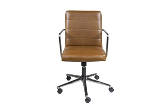Gamla Brown Vegan Leather Low Back Desk Chair