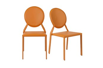 Oval Back Orange Leather-Like Upholstered Stacking Side Chair-Set Of 2