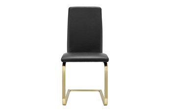 Black Vegan Leather And Brushed Gold Cantilever Side Chair-Set Of 2