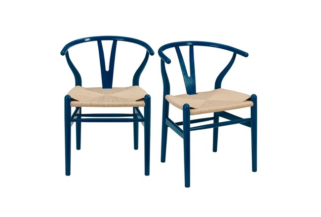 Blue Wishbone Side Chair With Natural Seat-Set Of 2 - 360