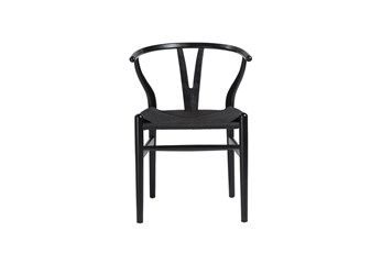 Black Wishbone Side Chair With Black Seat-Set Of 2