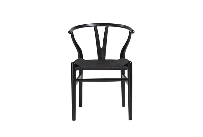 Black Wishbone Side Chair With Black Seat-Set Of 2 - 360