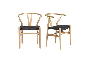 Natural Wishbone Side Chair Black Seat-Set Of 2