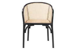Black And Natural Cane Barrel Back Arm Chair