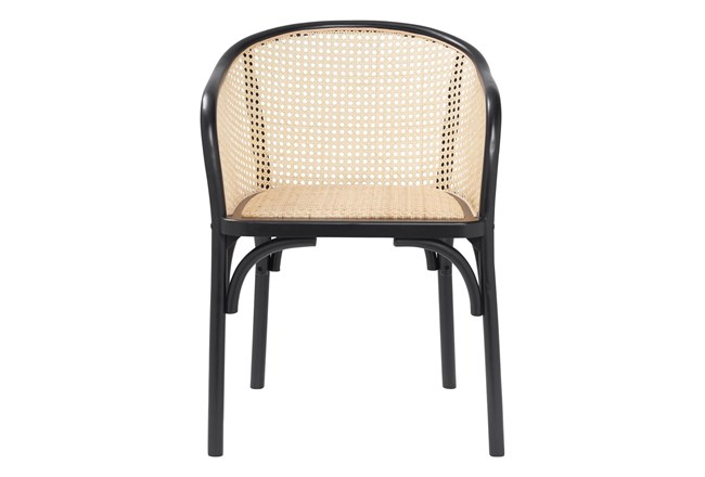 Black And Natural Cane Barrel Back Arm Chair - 360