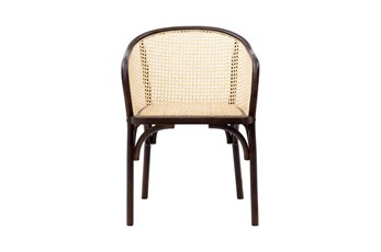 Walnut And Nautral Cane Barrel Back Arm Chair