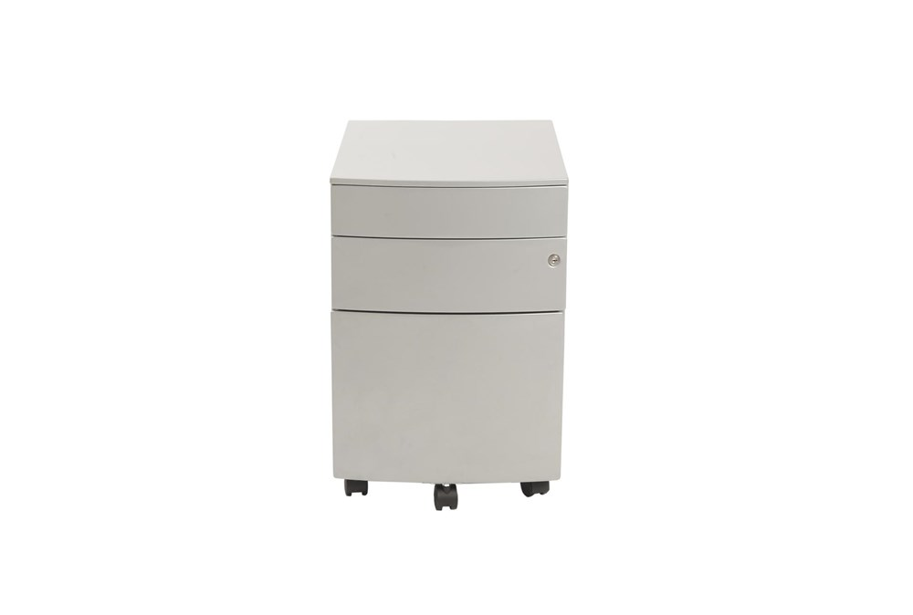 Silver Powder Coated Metal 3 Drawer File Cabinet With Casters