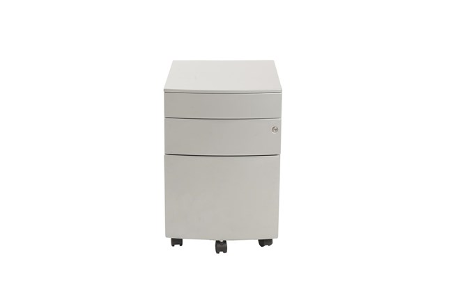 Silver Powder Coated Metal 3 Drawer File Cabinet With Casters - 360