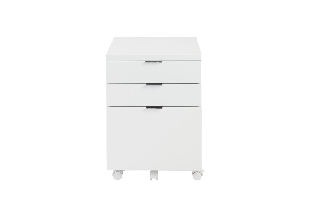 White Lacquer 3 Drawer File Cabinet With Casters