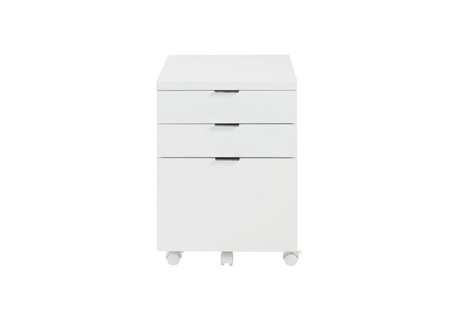 White Lacquer 3 Drawer File Cabinet With Casters - 360