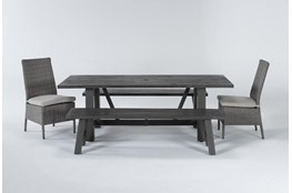 Panama Outdoor 5 Piece Dining Rectangle Set With Mojave Chairs