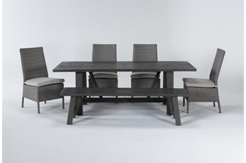 Panama Outdoor 6 Piece Rectangle Dining Set With Mojave Chairs